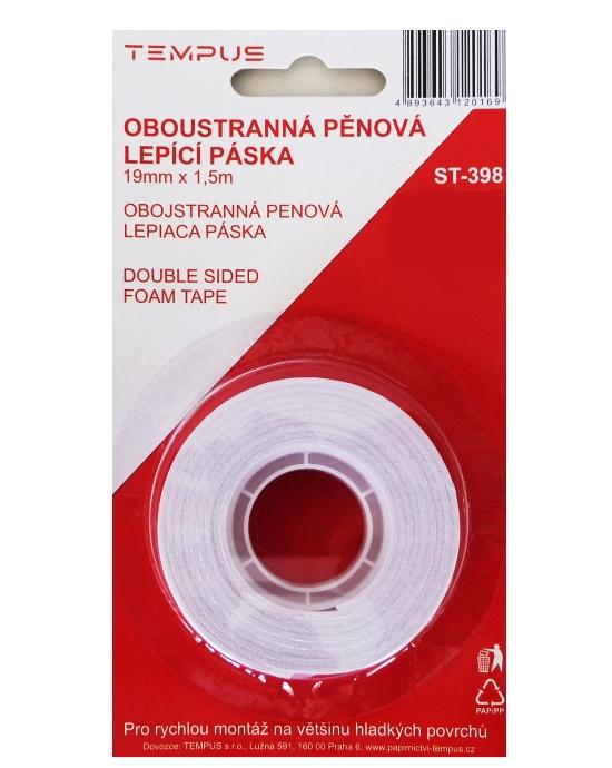 Lepicí páska ST 398 oboustranná 19 mm x 1,5 m pěnová
