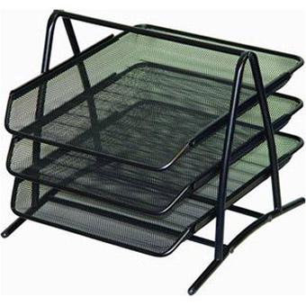 Drátěný stolní odkladač kancelářský 3-šuplík černý