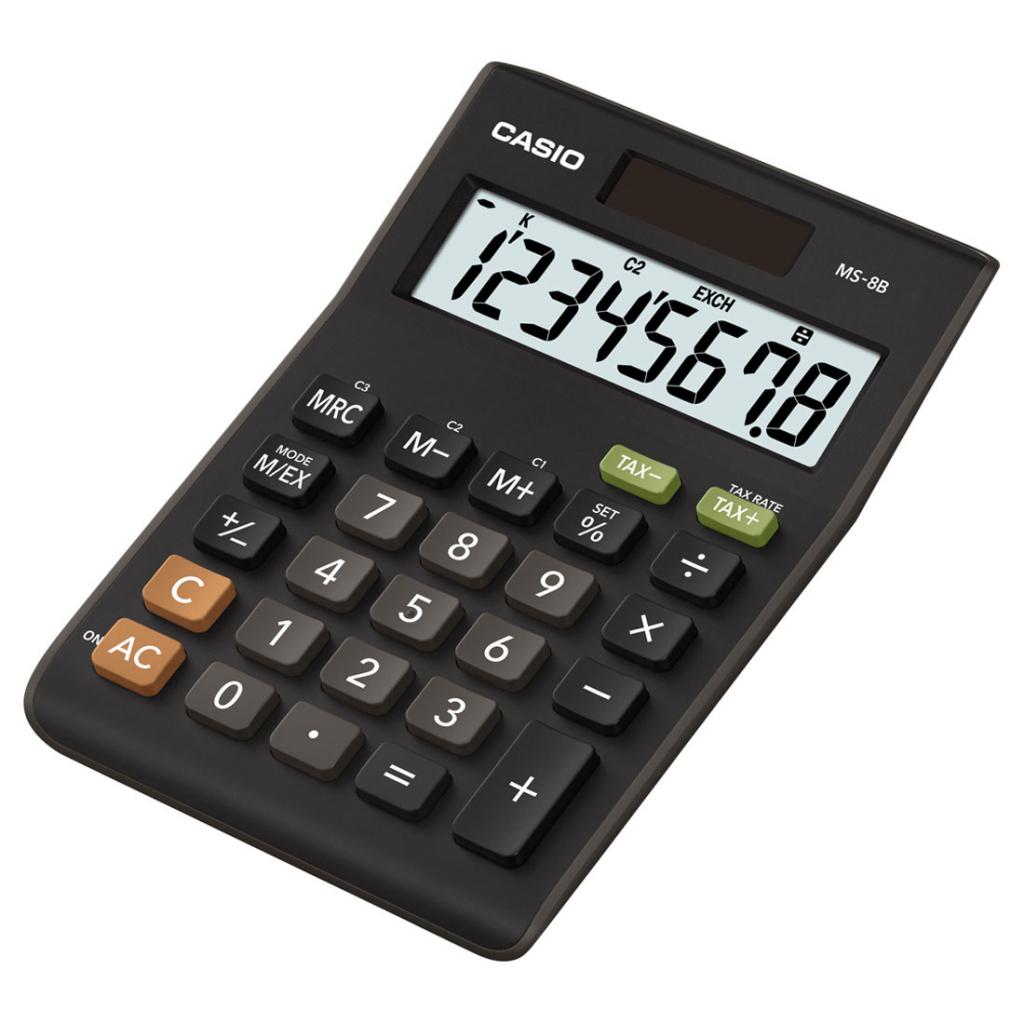 Kalkulačka CASIO MS-8VER, stolní s přepočtem měny Euro