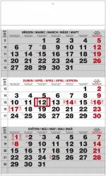 Kalendář 2019 nástěnný tříměsíční A3 černý BNCO