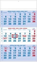 Kalendář 2019 nástěnný tříměsíční A3 modrý BNC1