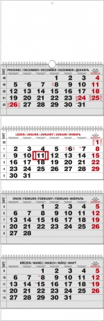 Kalendář 2019 nástěnný čtyřměsíční skládaný BNC6