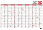 Kalendář 2020 nástěnný roční plánovací BKA5 - červený