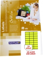 Etikety samolepicí RAY A4 70 x 36 žluté neon, balení 10 archů