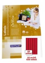 Etikety samolepicí A4 RAY 38 x 21,2  červené, balení 10 archů