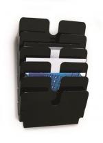 Odkladač, držák na prospekty  A4 FLEXIPLUS 6, černá - horizontální