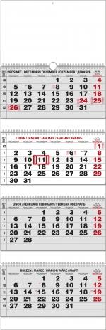 Kalendář 2021 nástěnný čtyřměsíční skládaný BNC6