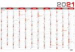 Kalendář 2021 nástěnný roční plánovací BKA5 - červený