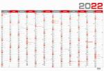 Kalendář 2022 nástěnný roční plánovací BKA5 - červený