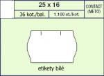 Etikety Contact 25 x 16 mm - oblá, bílá