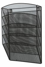 Drátěný odkladač nástěnný na katalogy, 5-šuplík černý