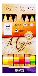 Pastelky MAGIC 12+1+pryž+ořezávátko 3404