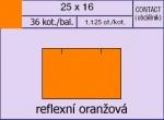 Etikety Contact 25 x 16 mm signální hranaté - oranžová