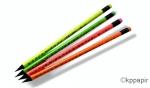 Tužka obyčejná grafitová EASY Trojhranná HB s gumou - mix 4 neon